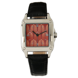 Art Deco Feather Pattern, Mandarin Orange Watch