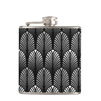 Art Deco Feather Pattern, Silver Gray and Black Hip Flask