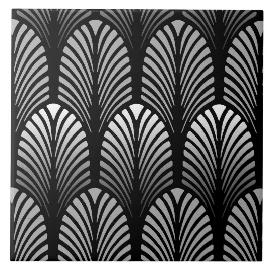 Art Deco Feather Pattern, Silver Grey and Black