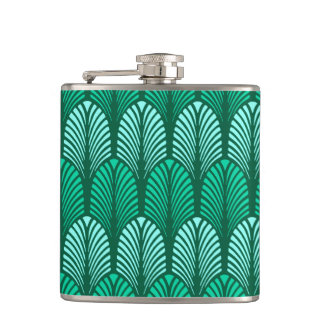 Art Deco Feather Pattern, Turquoise and Aqua Hip Flask