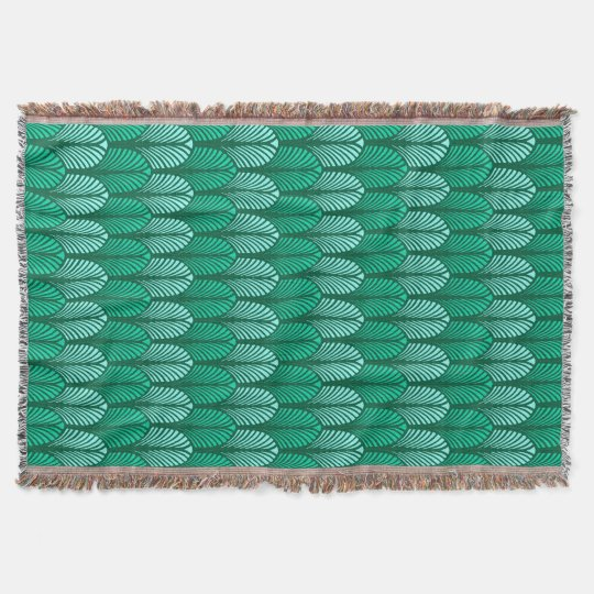 Art Deco Feather Pattern, Turquoise and Aqua Throw