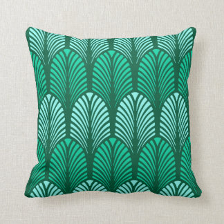 Art Deco Feather Pattern, Turquoise and Aqua Throw Pillow