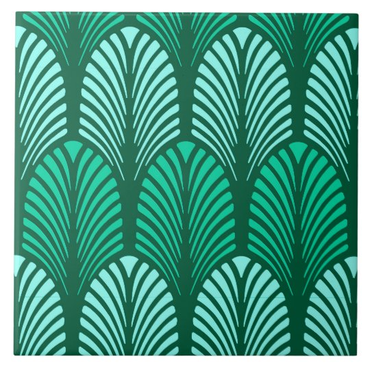 Art Deco Feather Pattern, Turquoise and Aqua Tile