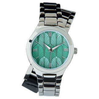 Art Deco Feather Pattern, Turquoise and Aqua Watch