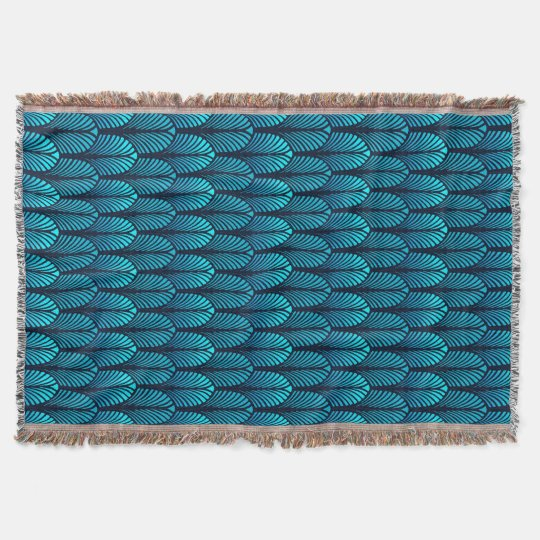Art Deco Feather Pattern, Turquoise and Navy