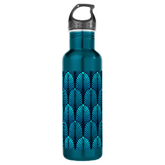 Art Deco Feather Pattern, Turquoise and Navy 710 Ml Water Bottle