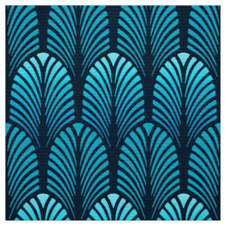 Art Deco Feather Pattern, Turquoise and Navy Fabric
