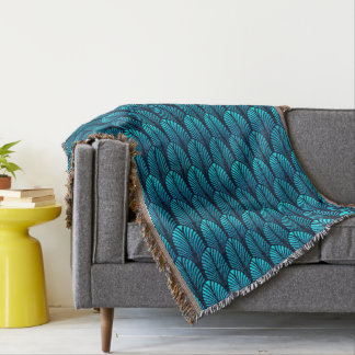 Art Deco Feather Pattern, Turquoise and Navy Throw Blanket