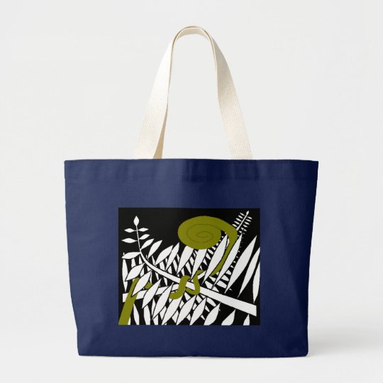 Art Deco Fern Large Tote Bag