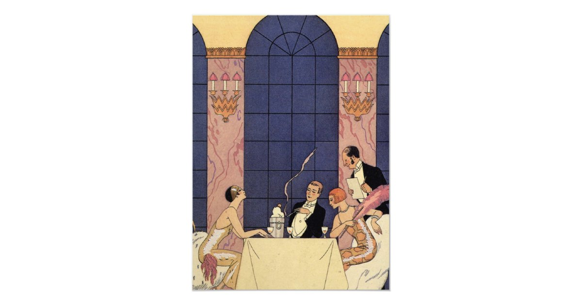 art deco fine dining 13 cm x 18 cm invitation card zazzle art deco dining 13