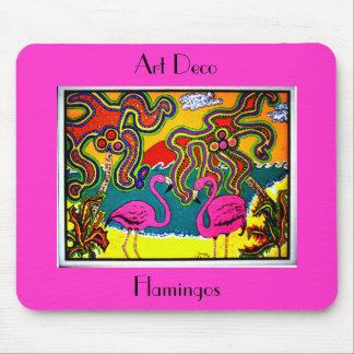 Art Deco Flamingos Mouse Mat