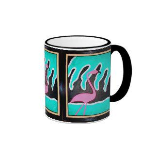 Art Deco Flamingos Ringer Mug