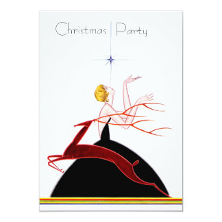 Art Deco Flapper and Deer Christmas Party Card