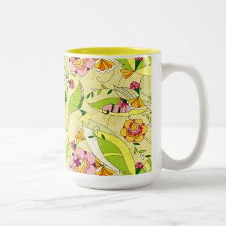 Art Deco Floral Collage Two-Tone Mug