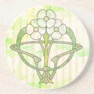 art deco floral design green wash coaster