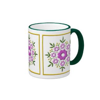 Art Deco Floral - fuchia Ringer Coffee Mug