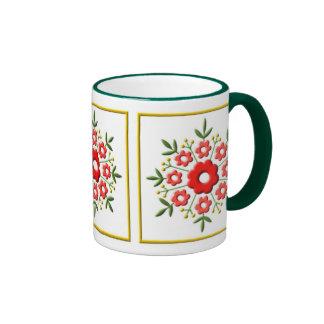 Art Deco Floral - red Ringer Coffee Mug