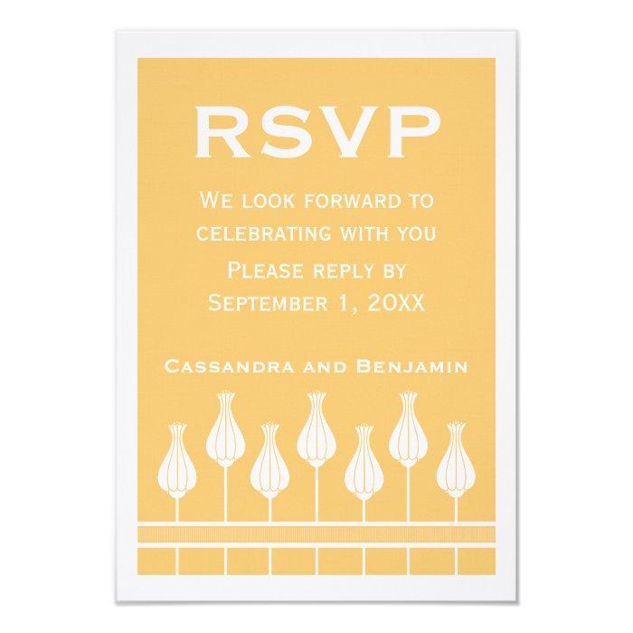 Art Deco Floral RSVP Card 9 Cm X 13 Cm Invitation Card