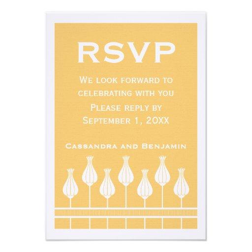 Art Deco Floral RSVP Card Invites