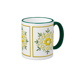 Art Deco Floral - yellow Ringer Coffee Mug