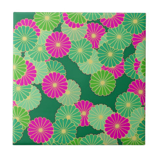 Art Deco flower pattern - shades of green, fuchsia Tile