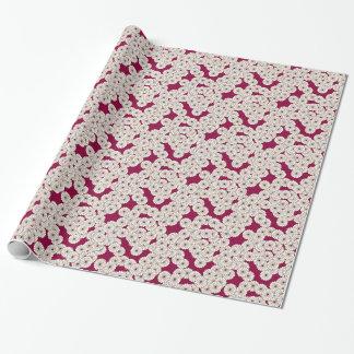 Art Deco flower pattern - white on burgundy Gift Wrap