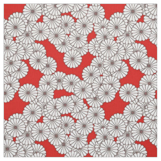 Art Deco flower pattern - white on red Fabric