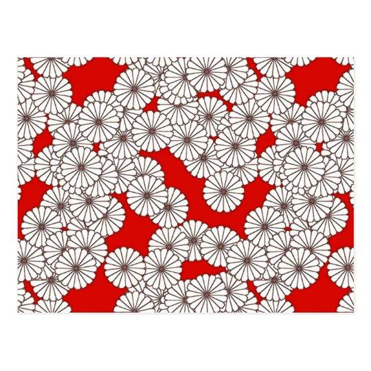 Art Deco flower pattern - white on red