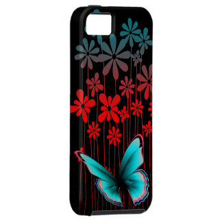 Art Deco Flowers and Butterfly Tough iPhone 5 Case