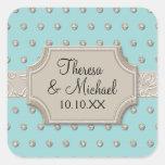 Art Deco Frame Champagne Silver Jewel Dots Square Sticker
