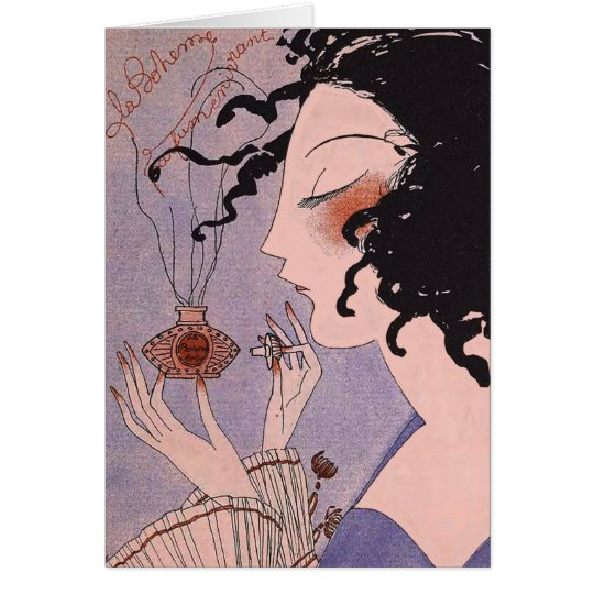 Art Deco French Parfum Ad Note Card