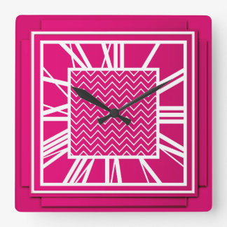 Art Deco, fuchsia pink Square Wall Clock