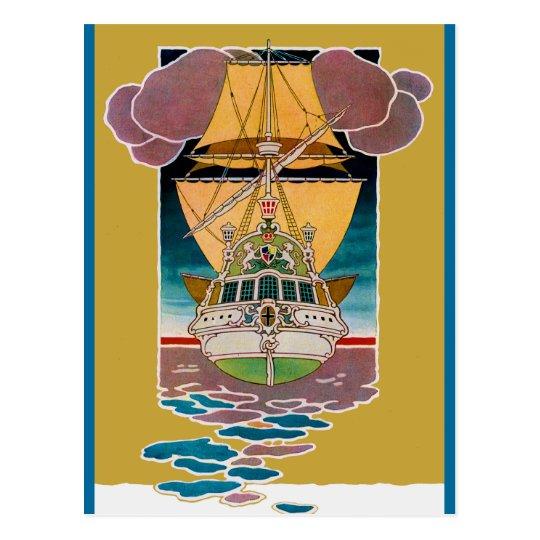 Art Deco Galleon Postcard
