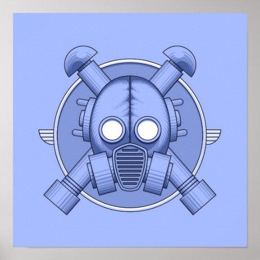 Art Deco Gasmask Blue Poster