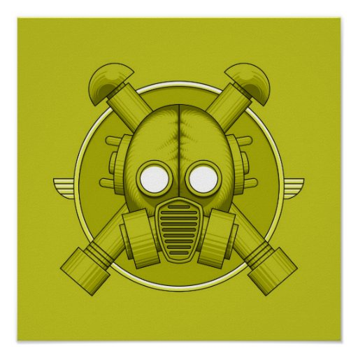 Art Deco Gasmask Combat Green Posters