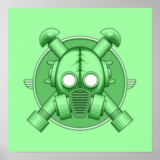 Art Deco Gasmask Green Posters