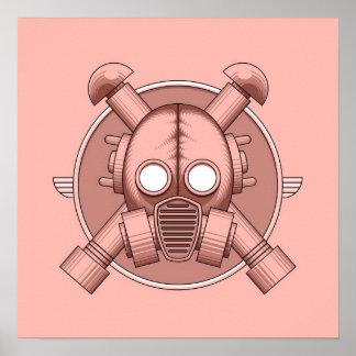 Art Deco Gasmask Pink Print
