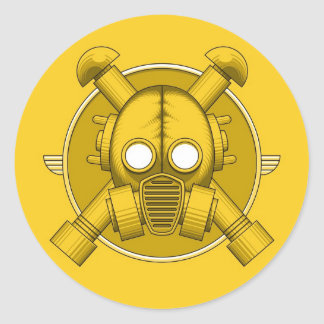 Art Deco Gasmask Yellow Stickers