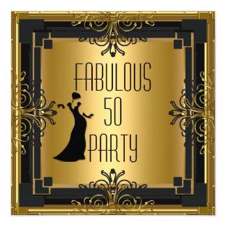 ART DECO Gatsby Fabulous 50 50th Birthday Party 3 13 Cm X 13 Cm Square Invitation Card