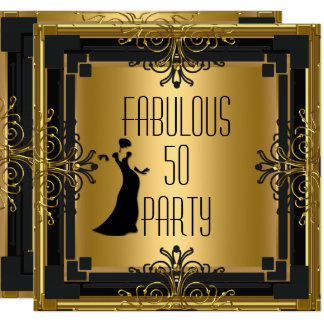 ART DECO Gatsby Fabulous 50 50th Birthday Party 3 Card