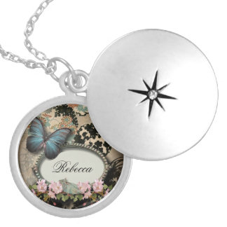 art deco gatsby floral vintage botanical butterfly silver plated necklace