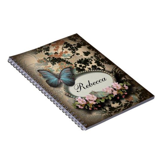 art deco gatsby floral vintage botanical butterfly spiral notebook