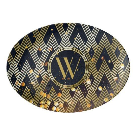 Art Deco Gatsby Glamour Geometric Pattern Monogram Porcelain