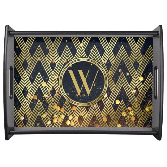 Art Deco Gatsby Glamour Geometric Pattern Monogram Serving