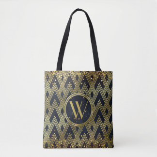 Art Deco Gatsby Glamour Geometric Pattern Monogram Tote Bag