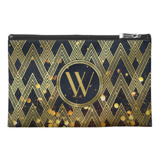 Art Deco Gatsby Glamour Geometric Pattern Monogram Travel Accessory Bag