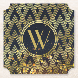 Art Deco Gatsby Glitter Geometric Pattern Monogram Paper Coaster