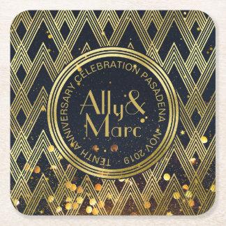 Art Deco Gatsby Glitter Geometric Pattern Monogram Square Paper Coaster