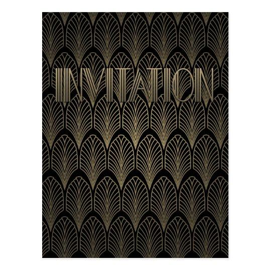 Art Deco Gatsby Invitation Postcard