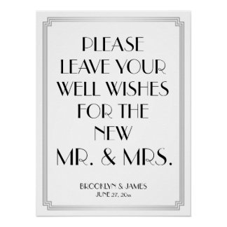 Art Deco Gatsby Silver Guestbook Sign 18x24 Poster